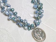 NECKLACE OOAK Hand Made Pearls Blue Grey Silver by TelumaDesigns