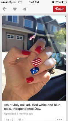 Patriotic american flag of July nails July 4th Nails Designs, 4th Of July Nails, Nail Designs For Kids, American Flag Nails, American Manicure, Red Toenails, Blue Nails, Usa Nails, Country Nails