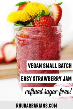 This is my go to easy recipe for 3 ingredient strawberry chia jam! A healthy, vegan, and refined sugar free homemade small batch chia jam made with frozen strawberries or fresh strawberries. Click over to see how I freeze it! // Rhubarbarians //