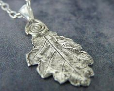 Oak leaf necklace, metal clay pendant, fine silver, nature jewelry, gift for gardeners, recycled silver, eco friendly, gift for her