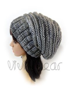 Hand Knitted Slouchy Hat. Gray Shades or 43 colors. Worm Hipster Girl Beanie. Women's Hat. Warm Autumn Fall Winter Accessory. by VividBear on Etsy
