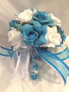 You will find that each bridal bouquet is made with a generous amount of flowers to create a full and beautiful bouquet. This set of flowers is made by using gorgeous turquoise and white roses with babies breath. Neutral Wedding Flowers, Bridal Flowers, Flower Bouquet Wedding, Silk Flowers, Flower Bouquets, Bridal Bouquets, Flower Packaging, Wedding Decorations, Aisle Decorations