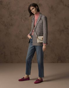 M&S Collection jacket, £79, M&S Collection jumper, £35, jeans, £35, bag, £29.50, shoes, £29.50.