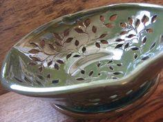Green Leaves Colander / North Carolina Pottery by Dawn Tagawa Great idea for a colandar