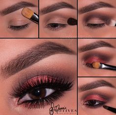 Pantone Color of the Year Marsala as featured by Motives Tahitian Earth Red Pressed Eyeshadow - here is a beautiful smokey eye make up look using the 2015 colour of the year...x