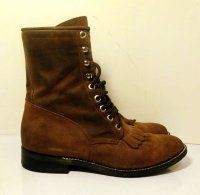 Sz 9 Vintage brown leather lace up roper boots with removable fringe tongue.