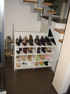 Creating storage space - Shoe cupboard installed underneath the stairs and opened here - Stauraum Schaffen - Closet Shoe Storage Under Stairs, Closet Shoe Storage, Attic Storage, Storage Bins, Bedroom Storage, Diy Storage, Kitchen Storage, Storage Spaces, Storage Ideas