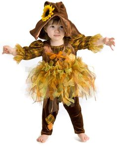 Halloween Scout Scarecrow Scare Crow Baby Girl Dress Up Kids Costume Set Outfit | eBay