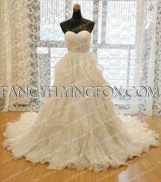 Exquisite Multi-Layered Ivory Chiffon Wedding Dress