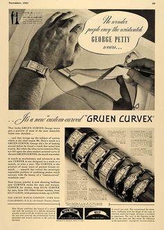 "1937 Ad Gruen Curvex Watch iwth the ""Custom Curve"" featuring George Petty"