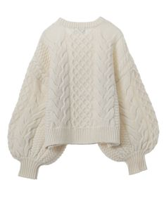 CLANE|クラネ|CABLE PUFF KNIT TOPS 詳細画像 4