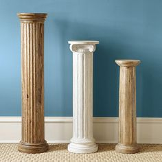 I love these wood columns from Ballard Designs.  Anyone know how to DIY these?