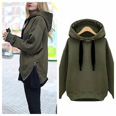Army Green Side Zipper Hoodie SALE✂️✂️ This hoodie is everything! It's super soft and thick keeps you warm all winter long. Pair it with a pair of skinny jeans or tights. Material: cotton, polyester. #Stretches #NWT PRICE DROPPED FROM $45 to $40. Happy Thanksgiving! Tops Sweatshirts & Hoodies