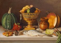 Jose Agustin Arrieta - Still Life With Fish and a Pumpkin - art prints and posters