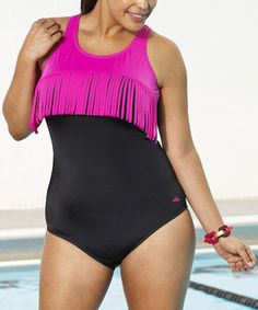 Loving this Black & Pink Fringe Party One-Piece - Plus on #zulily! #zulilyfinds