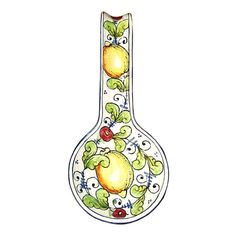 Italian Ceramic Spoon Rest Holder Decorated Lemons Pottery Art Hand Painted Made in ITALY Tuscan