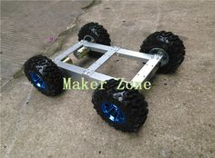 C37 4WD Car, High torque Motor, Aluminium Alloy Chassis, 130mm Big Tyre/Wheel, for DIY Smart car, Robot Competition