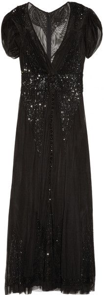 Embellished Mesh Gown by Anna Sui 1930s Fashion, Diva Fashion, Couture Fashion, Fashion Ideas, Bohemian Fashion, Bohemian Style, Florence Welch Style, Vintage Clothing, Vintage Outfits