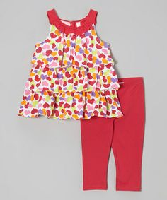 Take a look at this Red & Orange Heart Yoke Tunic & Leggings - Toddler & Girls by Kids Headquarters on #zulily today!