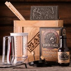 Rise and shine, it's the Morning Glory Crate! The tops in breakfast gifts for pancake lovers includes a bacon press, pancake mix, and lots more to maximize his morning meal. Unique Gifts For Men, Creative Gifts, Cool Gifts, Best Gifts, Man Gifts, Man Crates, Gift Crates, Wooden Crates, Gift Boxes