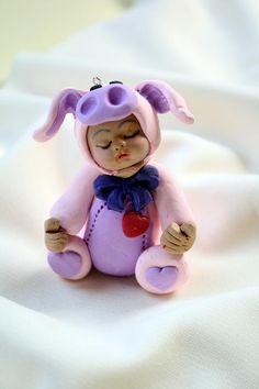 Sleeping baby Girl or Boy Cake Topper Baby Dressed as Piglet