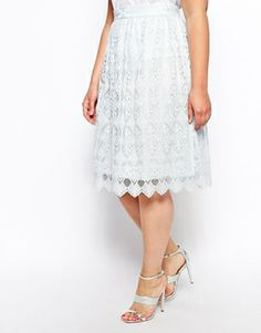 ASOS CURVE Midi Skirt in Lace with a scallop hem.  I love how girlie and feminine this skirt is.  Available in cream or pale blue up to size 28.