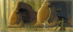 This Episode I concept by Doug Chiang shows two hulking multitroop transports, used to deliver battledroids to the front lines.