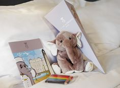 Elephant plushie and welcome gifts for kids at the Hotel de Crillon, Paris, France by Concorde Hotels Resorts