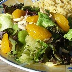 Betsy's Mandarin Orange Salad Recipe- love this salad and I add 1/4 to 1/3 cup of the mandarin orange juice to dressing.. may have to adjust vinegar.. and keep people outta the candied almonds until they make it to the salad! =]