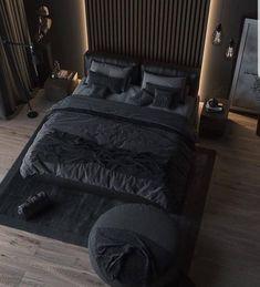 Black Bedroom Design, Black Interior Design, Luxury Bedroom Design, Home Room Design, Dream Home Design, Black Bedroom Decor, Black Bedrooms, Black Bedroom Furniture, Teen Bedrooms