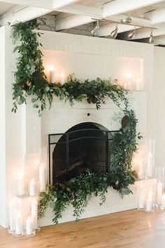 Rustic Country Weddings Fireplace Ceremony Backdrop with Greenery and Candles - Creative Wedding Styling and Event Design Wedding Fireplace, Wedding Mantle, Wedding Aisles, Wedding Ceremonies, Wedding Reception, Beach Wedding Groom Attire, Barn Wedding Inspiration, Outdoor Candles, Copper Decor