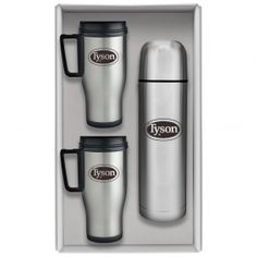 Promotional Products Ideas That Work: Deluxe travel trio gift set /stainless steel mugs. Get yours at www.luscangroup.com