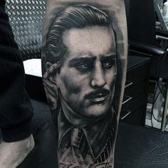 Amazing Guys Portrait Gangster Lower Leg Tattoos