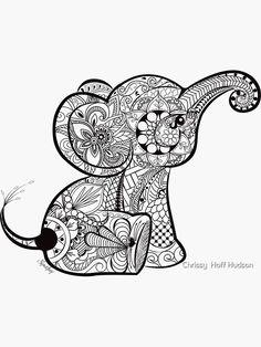 Zentangle Elephant, Mandala Elephant Tattoo, Elephant Art, Elephant Tattoos, Baby Elephant Drawing, Mandala Tattoo, Elephant Colour, Indian Elephant, Elephant Coloring Page