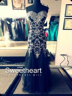 Black A-line Sweetheart Neckline Long Prom Dresses, Evening Dresses #prom #promdress #dress