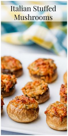 These Italian Stuffed Mushrooms are the perfect party appetizer for any occasion. Put these stuffed mushrooms together early in the day and bake them off right before guests arrive. Mushroom Appetizers, Appetizers For A Crowd, Quick And Easy Appetizers, Appetizer Recipes, Italian Appetizers Easy, Easter Recipes, Dinner Party Appetizers, Italian Food Parties, Italian Party Foods