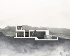 Blending and shading using positive and negative space highlights the tectonics and structure of the building in a monochromatic but dramatic way.