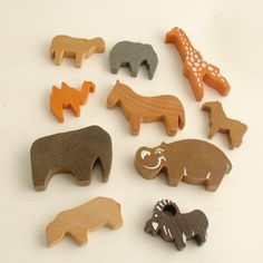 wooden animals.
