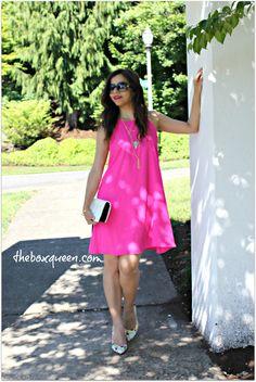 PRETTIES UNDER $100 – A PINK DRESS & LAYERED NECKLACE | The Box Queen #summerdress #swingdress