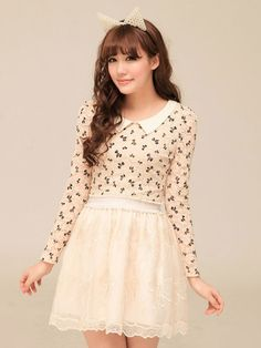Mango Doll - Bow Print Lace Shirt, $38.00 (http://www.mangodoll.com/all-items/bow-print-lace-shirt/)