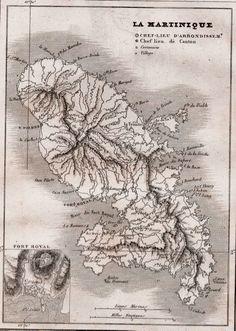 La France Pittoresque . Abel Hugo - 1835 carte de la Martinique .