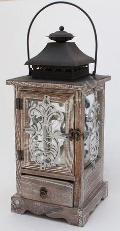 Подсвечник фонарь деревянный винтажный