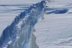 Close-Up view of a giant split in the Antarctic ice