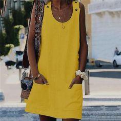 Vestidos Women'S Dresses Spring Summer Dress Crew Neck Women Dresses Shift Daily Casual Button Plain Cotton Dresses Size S Color 02 White Robes Dos Nu Maxi, Plain Dress, Mini Vestidos, Vacation Dresses, Summer Dresses For Women, Dress Summer, Spring Summer, Ladies Dresses, Early Spring