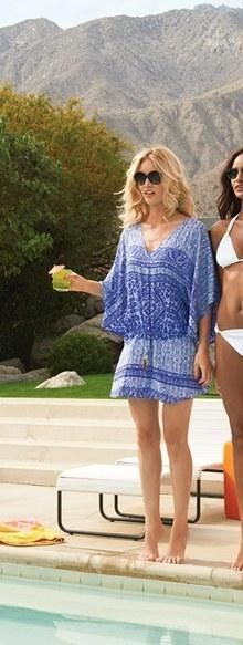 Summer fashion - Blue and white cover-up tunic