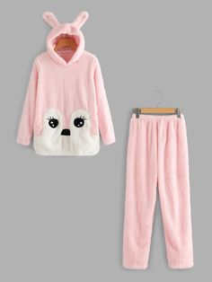 Shein Rabbit Ear Hooded Top And Pants Pajama Set Shein Rabbit Ear – Pyjama-Set mit Kapuze und Hosen Cute Pajama Sets, Cute Pjs, Cute Pajamas, Girls Pajamas, Pajamas Women, Cute Lazy Outfits, Kids Outfits, Mode Bollywood, Emo Outfits