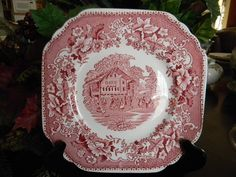 Square Red Pink Toile Transferware Plate by EnglishTransferware