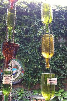 Rain Chain/ Rain Catcher by MartinezCraftWorx on Etsy,! Unique Rain Chain made using Repurposed Wine Bottles! Wine Bottle Art, Wine Bottle Crafts, Garden Crafts, Garden Projects, Art Projects, Rain Catcher, Glass Bottles, Wine Bottles, Glass Insulators