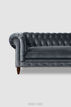 Grey velvet / so rich! Chesterfield Sofas, Armchairs, Sectionals, Sleepers | Leather, Fabric, Linen | Made in USA | Higgins from Roger + Chris