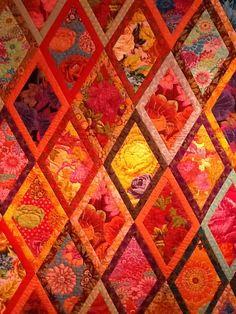 Red Kaffe Fassett Diamond Quilt | More Pictures of Kaffe Fassett Exhibition in UK